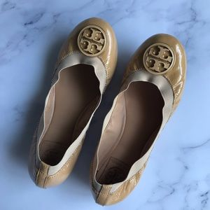 Tory Burch Patent Ballet Flats Beige Nude 7M